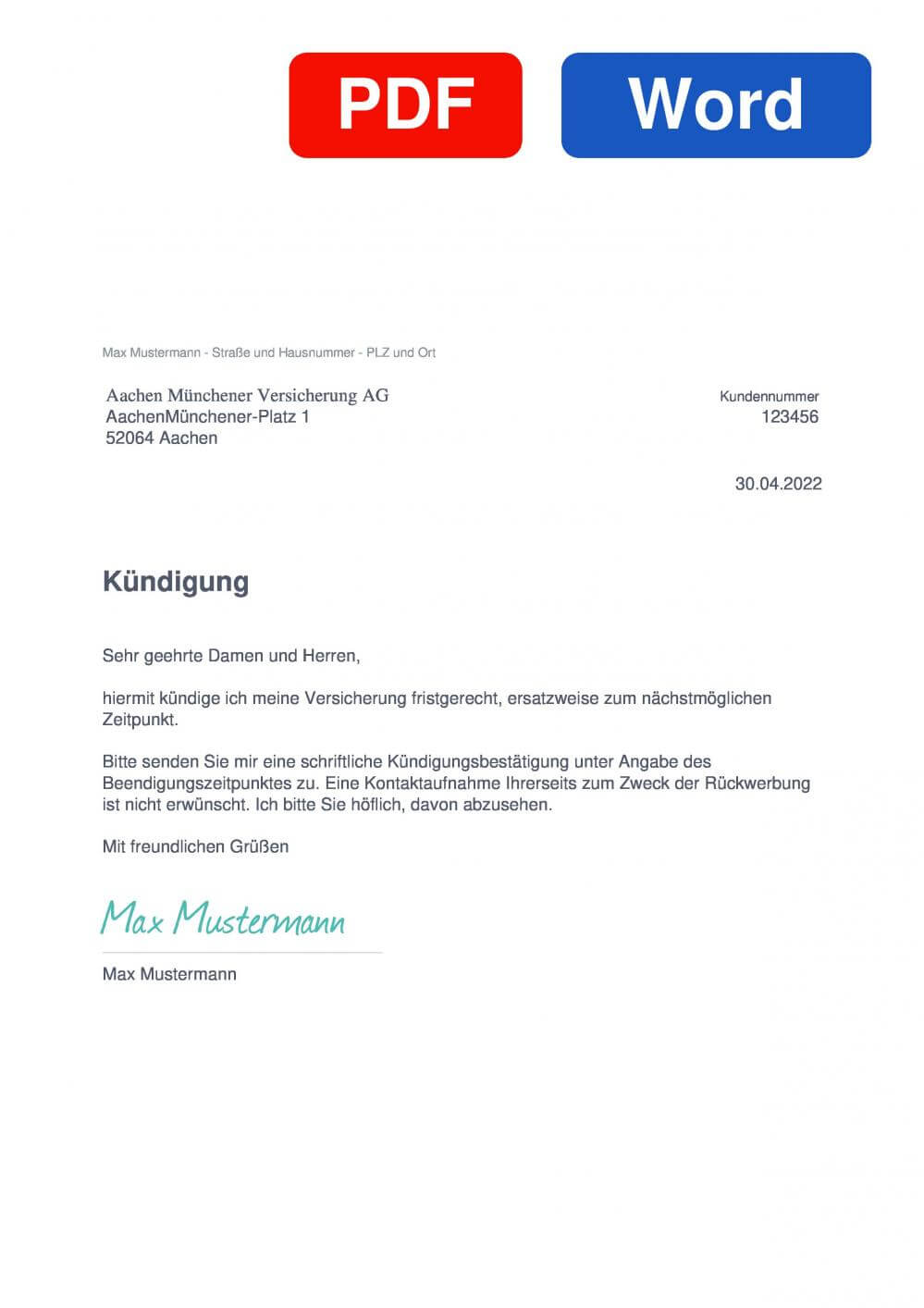AachenMünchener Berufsunfähigkeitsversicherung Muster Vorlage für Kündigungsschreiben