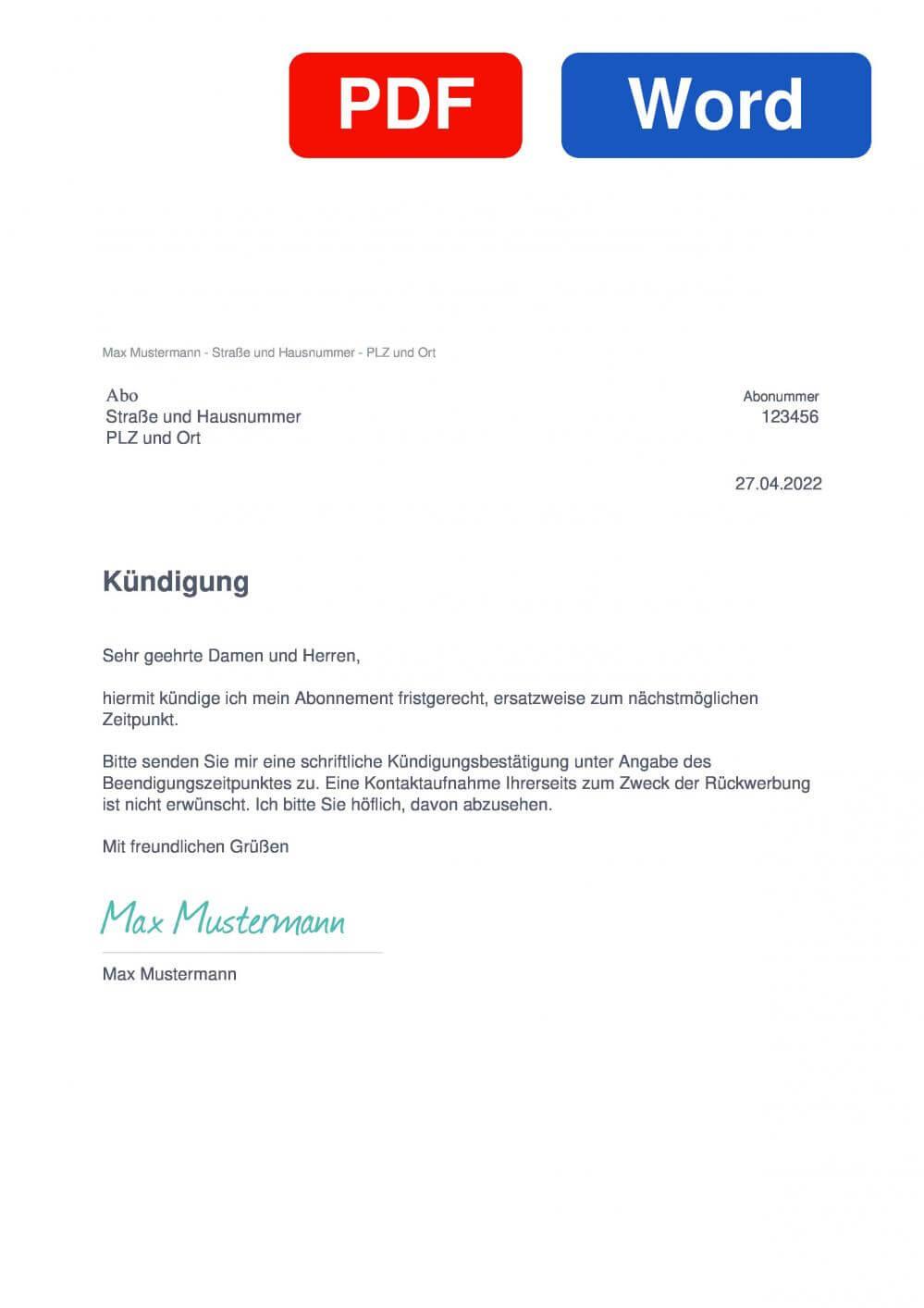 Abo Muster Vorlage für Kündigungsschreiben
