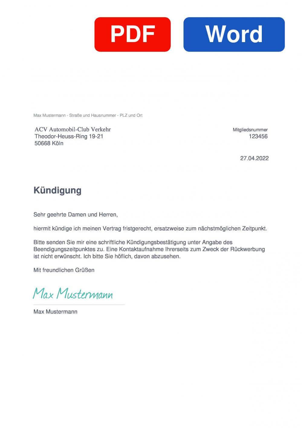 ACV Automobil Club Verkehr Muster Vorlage für Kündigungsschreiben