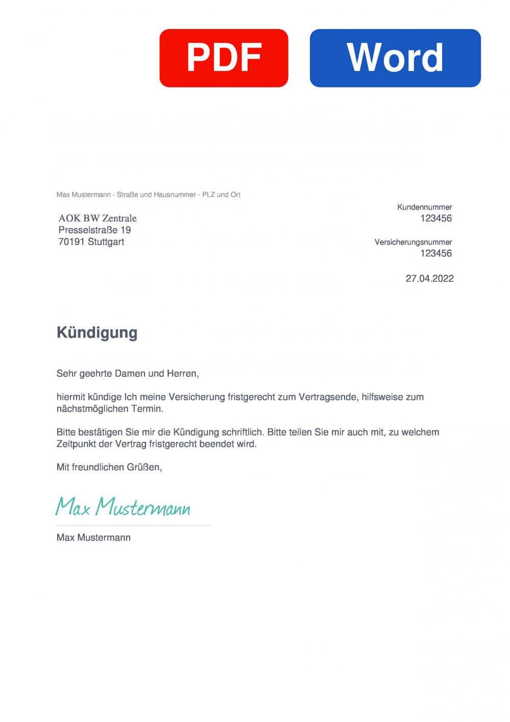 AOK BW Zentrale Muster Vorlage für Kündigungsschreiben