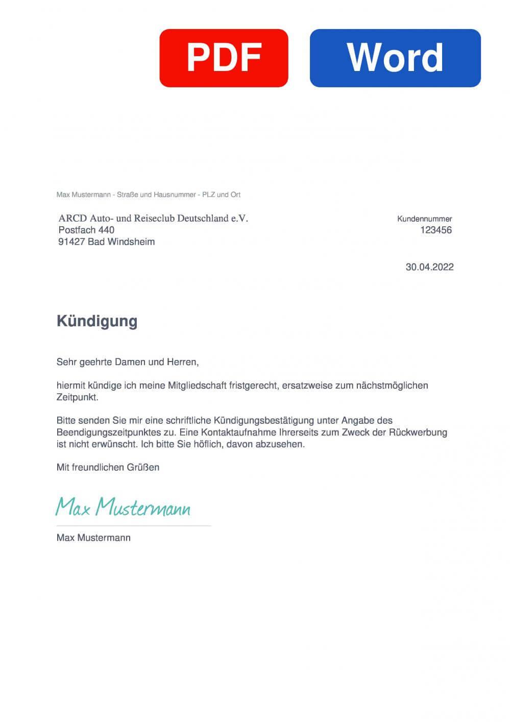 ARCD Auto- und Reiseclub Deutschland Muster Vorlage für Kündigungsschreiben