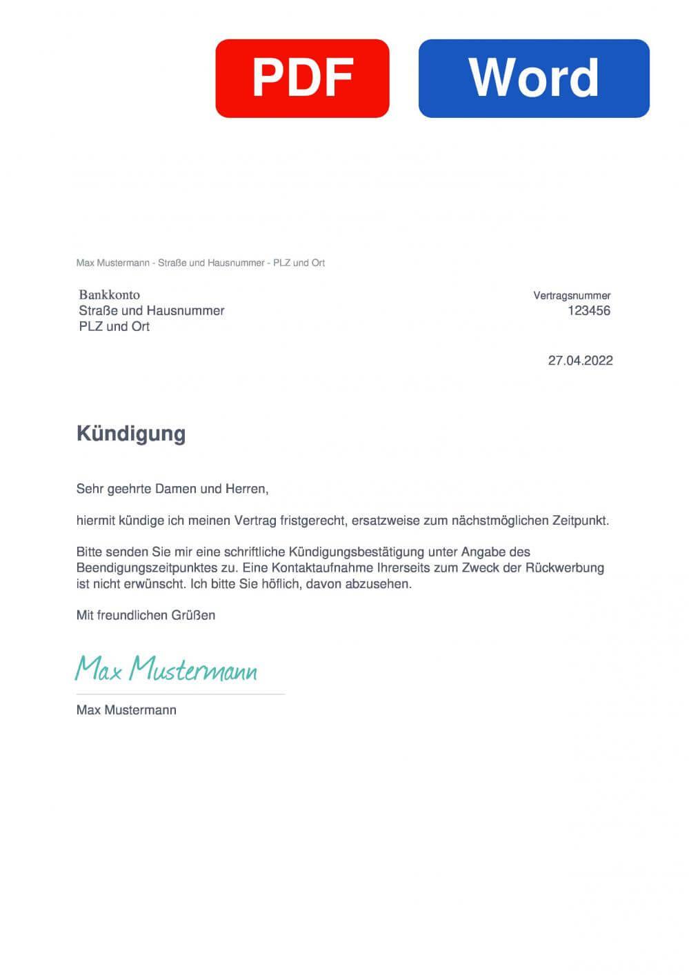 Bankkonto Muster Vorlage für Kündigungsschreiben
