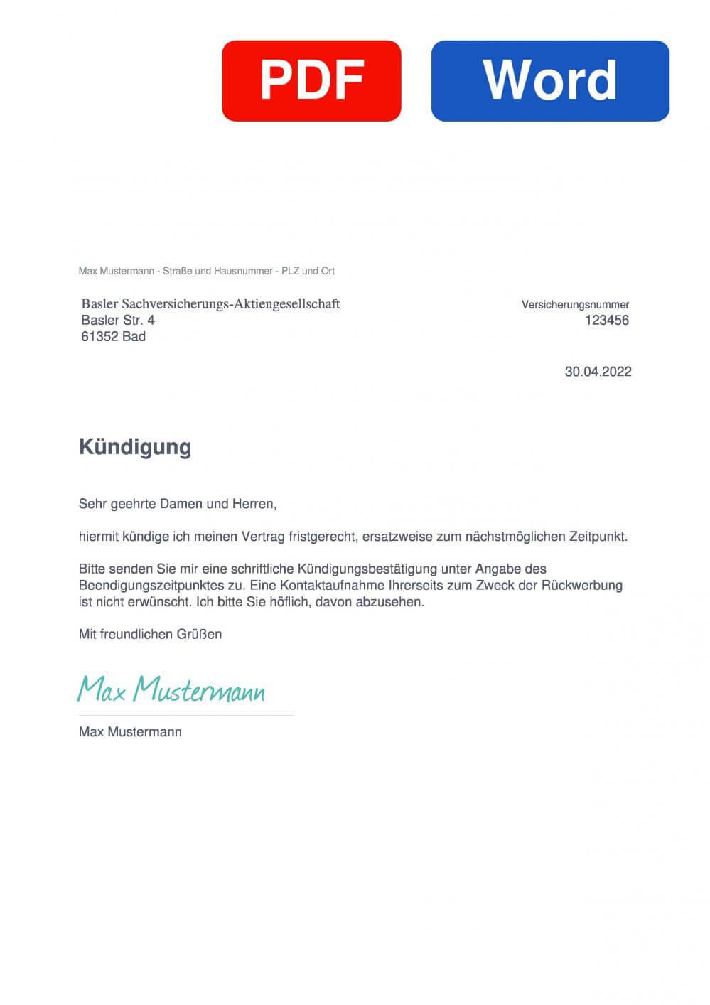Basler KFZ Versicherung Muster Vorlage für Kündigungsschreiben