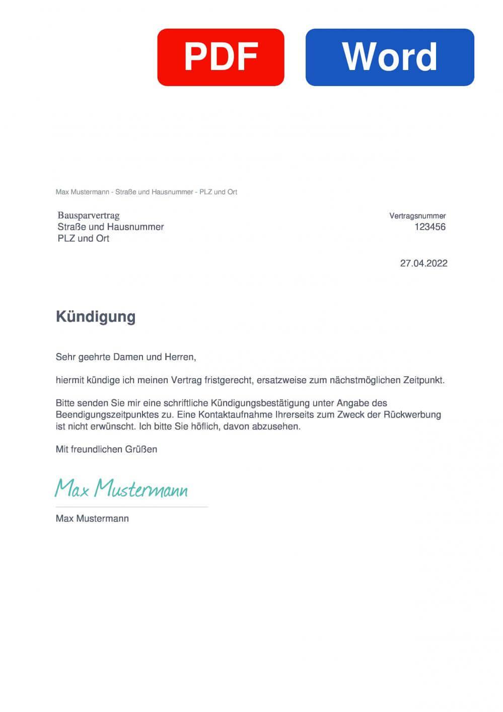 Bausparvertrag Muster Vorlage für Kündigungsschreiben