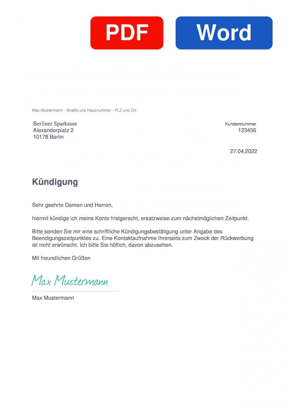 Berliner Sparkasse Muster Vorlage für Kündigungsschreiben