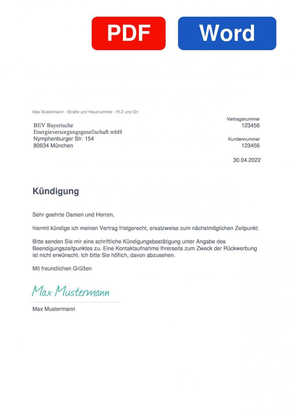 BEV Energie Muster Vorlage für Kündigungsschreiben