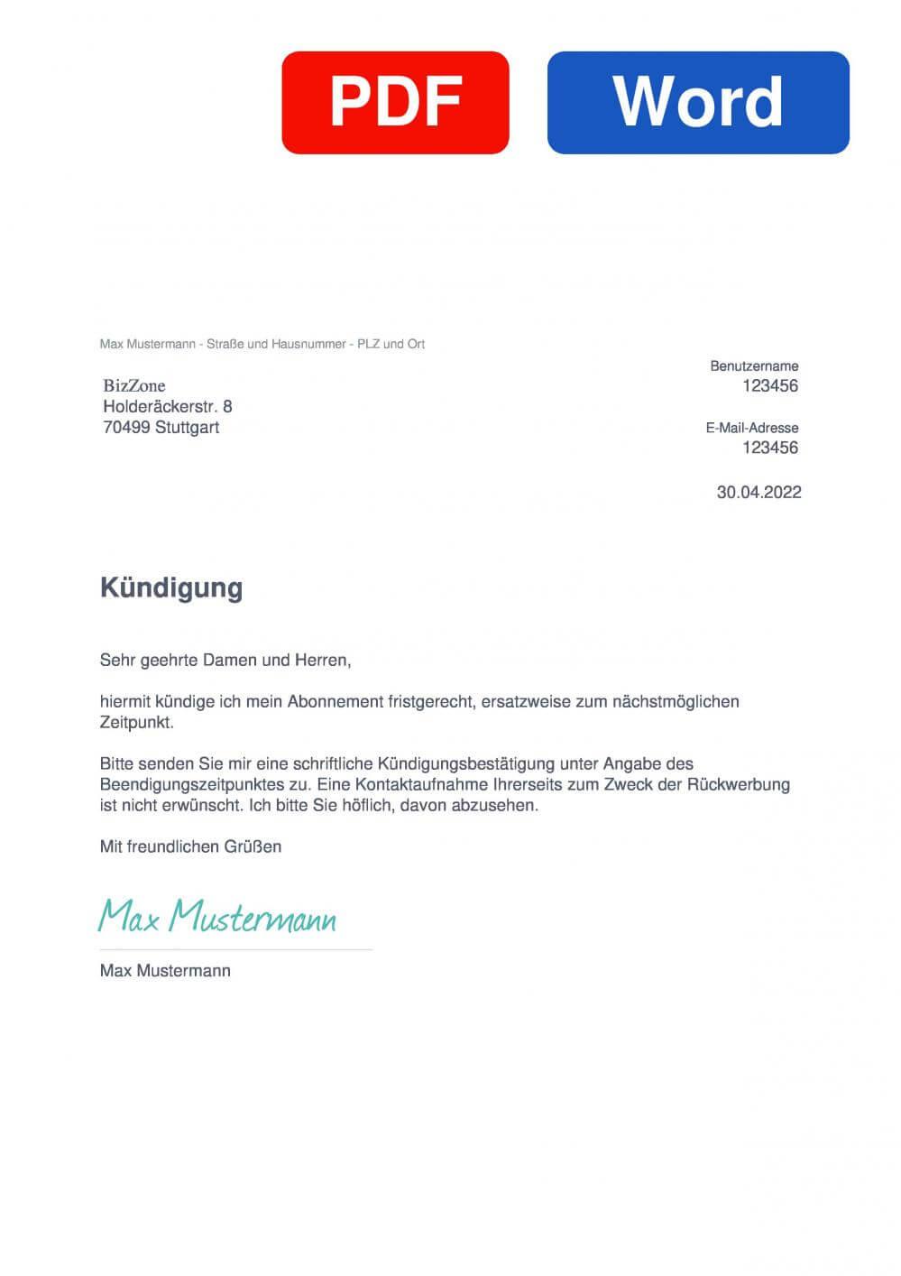 BizZone Muster Vorlage für Kündigungsschreiben