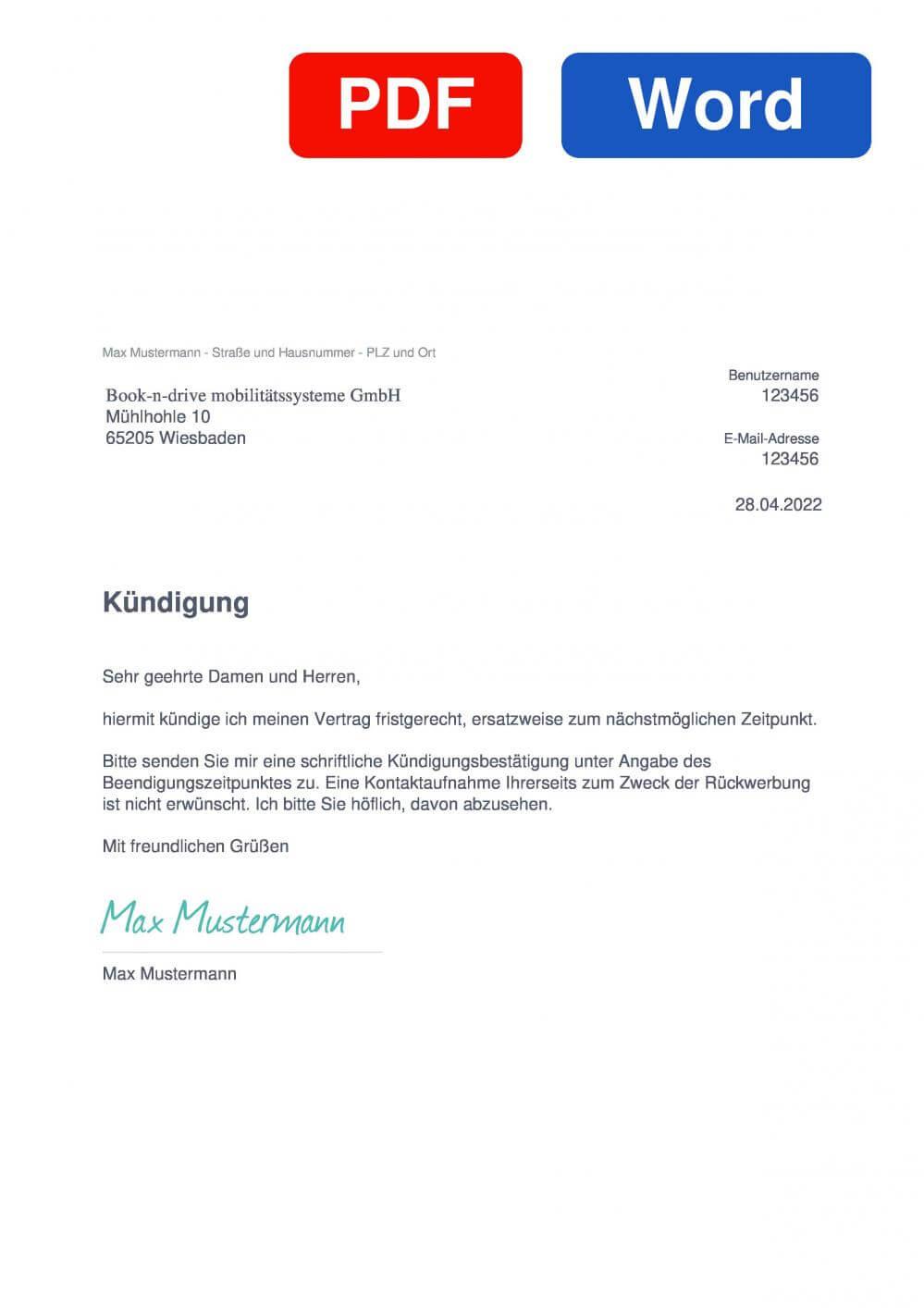 Book-n-drive Muster Vorlage für Kündigungsschreiben