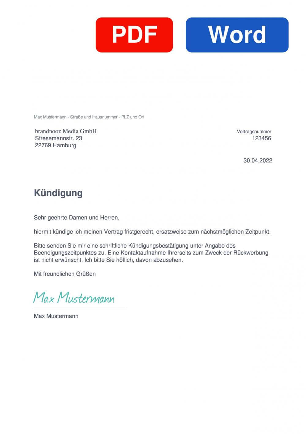 brandnooz Muster Vorlage für Kündigungsschreiben