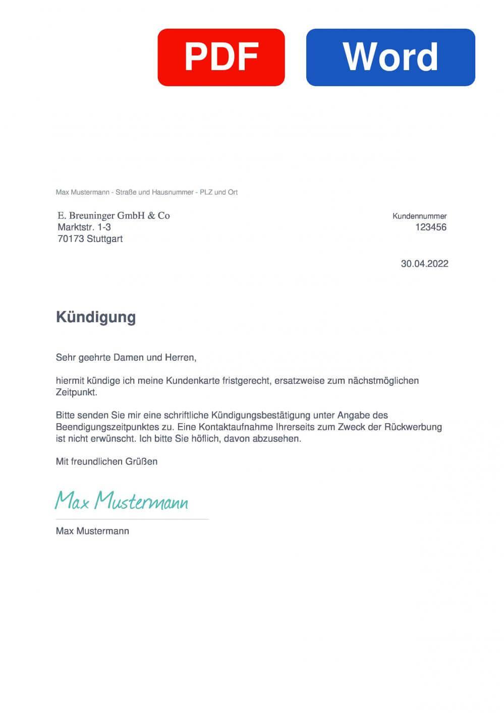 breuninger card Muster Vorlage für Kündigungsschreiben