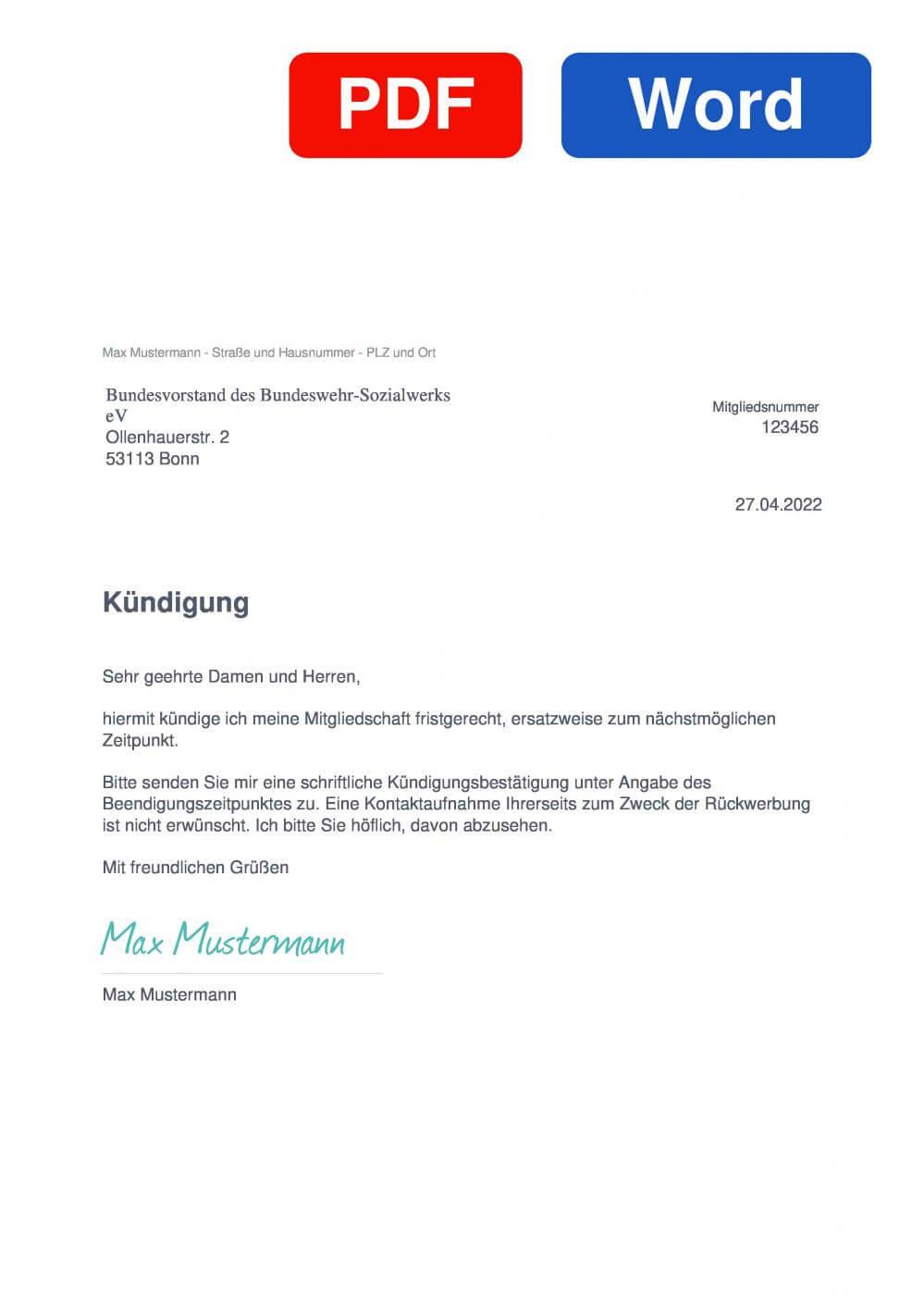 Bundeswehr Sozialwerk Muster Vorlage für Kündigungsschreiben