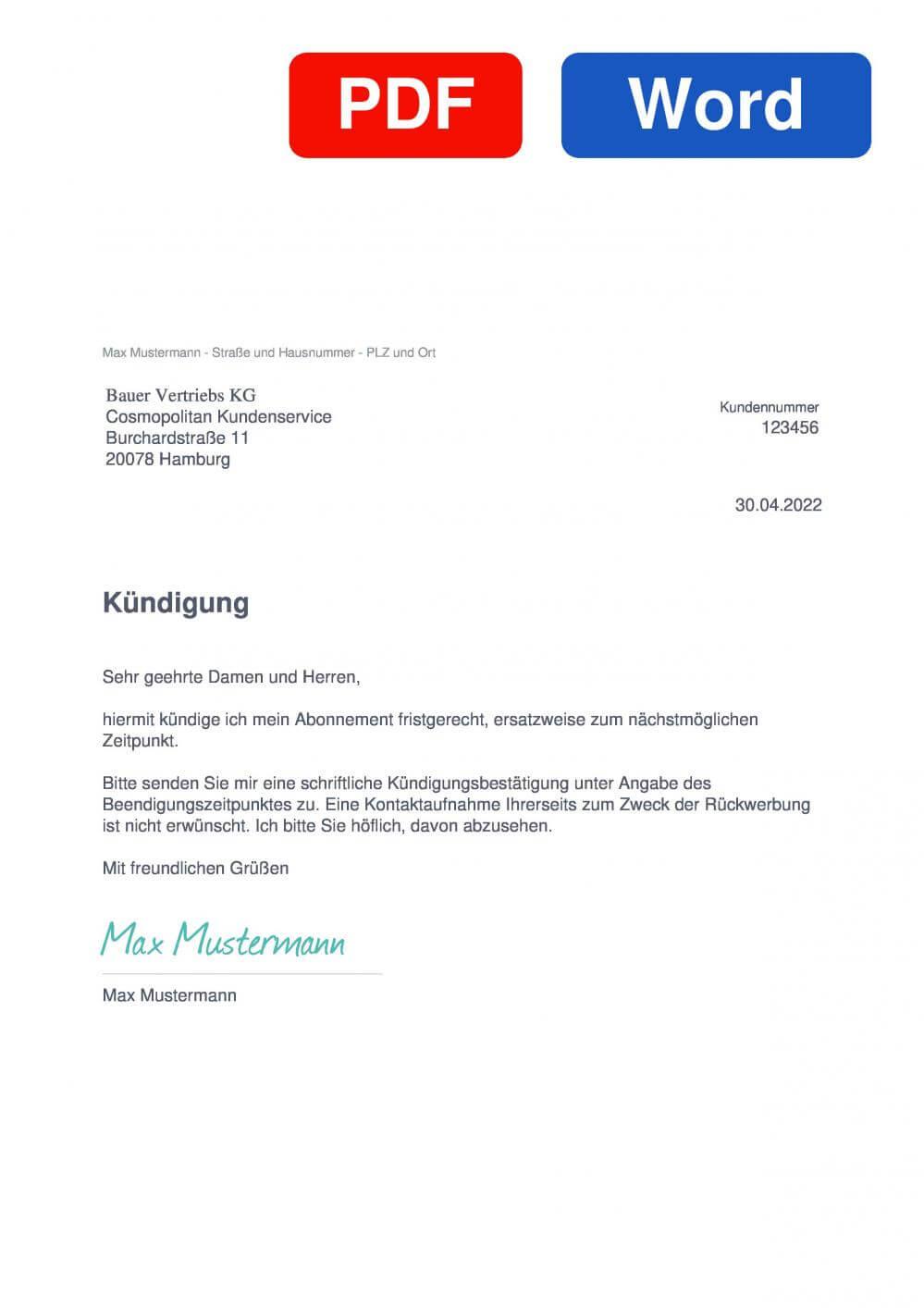 COSMOPOLITAN Muster Vorlage für Kündigungsschreiben