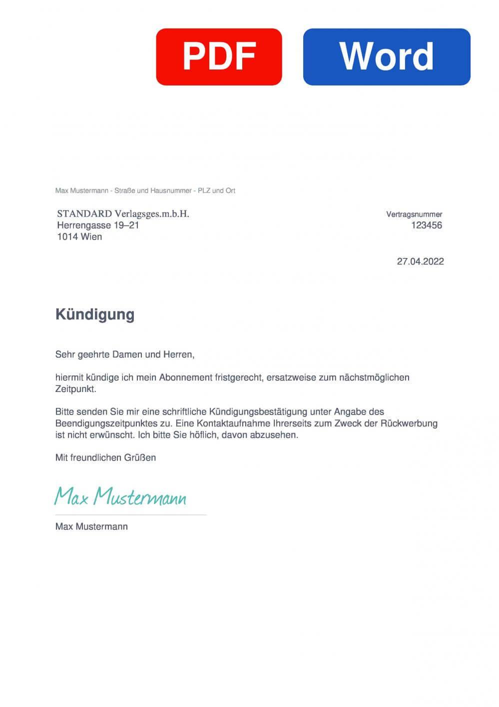 Der Standart Muster Vorlage für Kündigungsschreiben