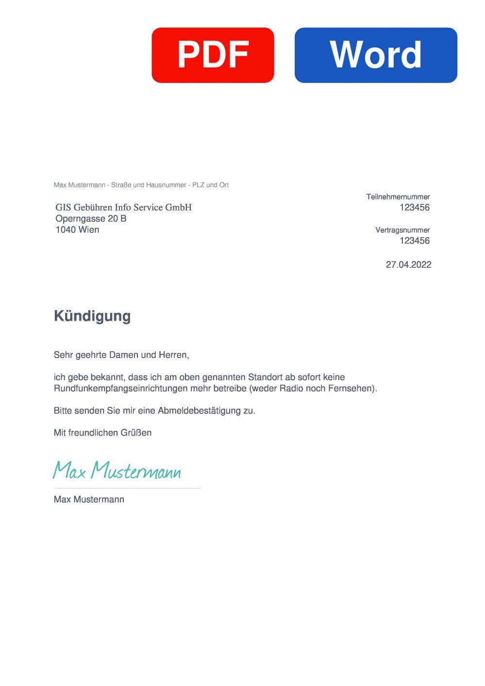 GIS (ORF) Muster Vorlage für Kündigungsschreiben