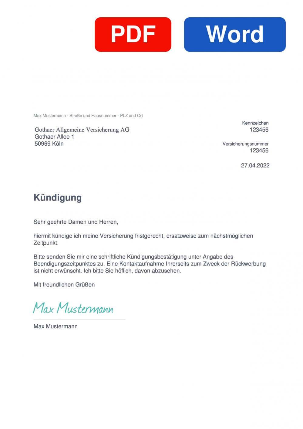 Gothaer Haftpflichtversicherung Kündigung - Vorlage - Download - CHIP