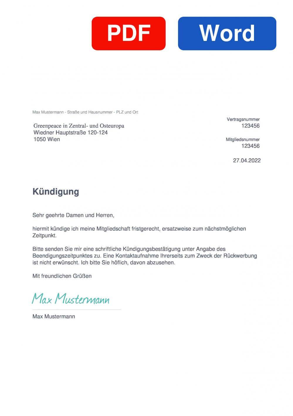 Greenpeace Muster Vorlage für Kündigungsschreiben
