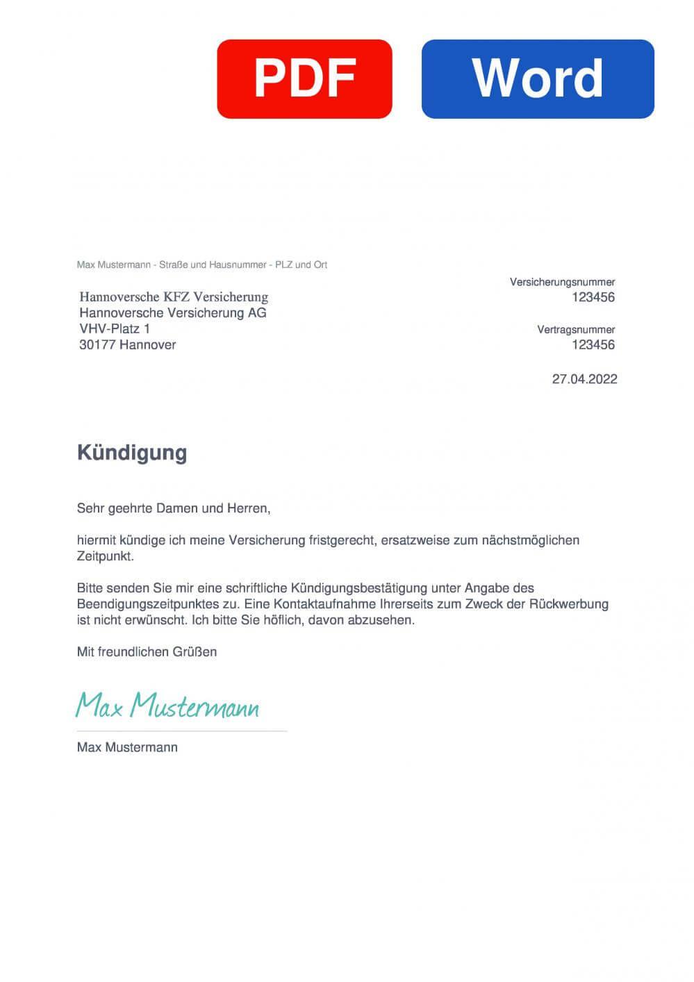 Hannoversche Lebensversicherung Muster Vorlage für Kündigungsschreiben