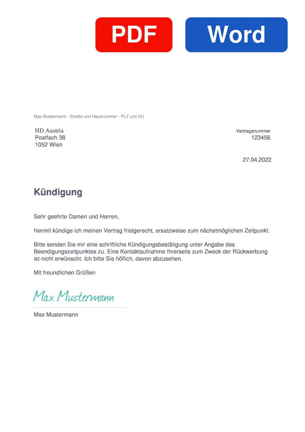 HD Austria Muster Vorlage für Kündigungsschreiben