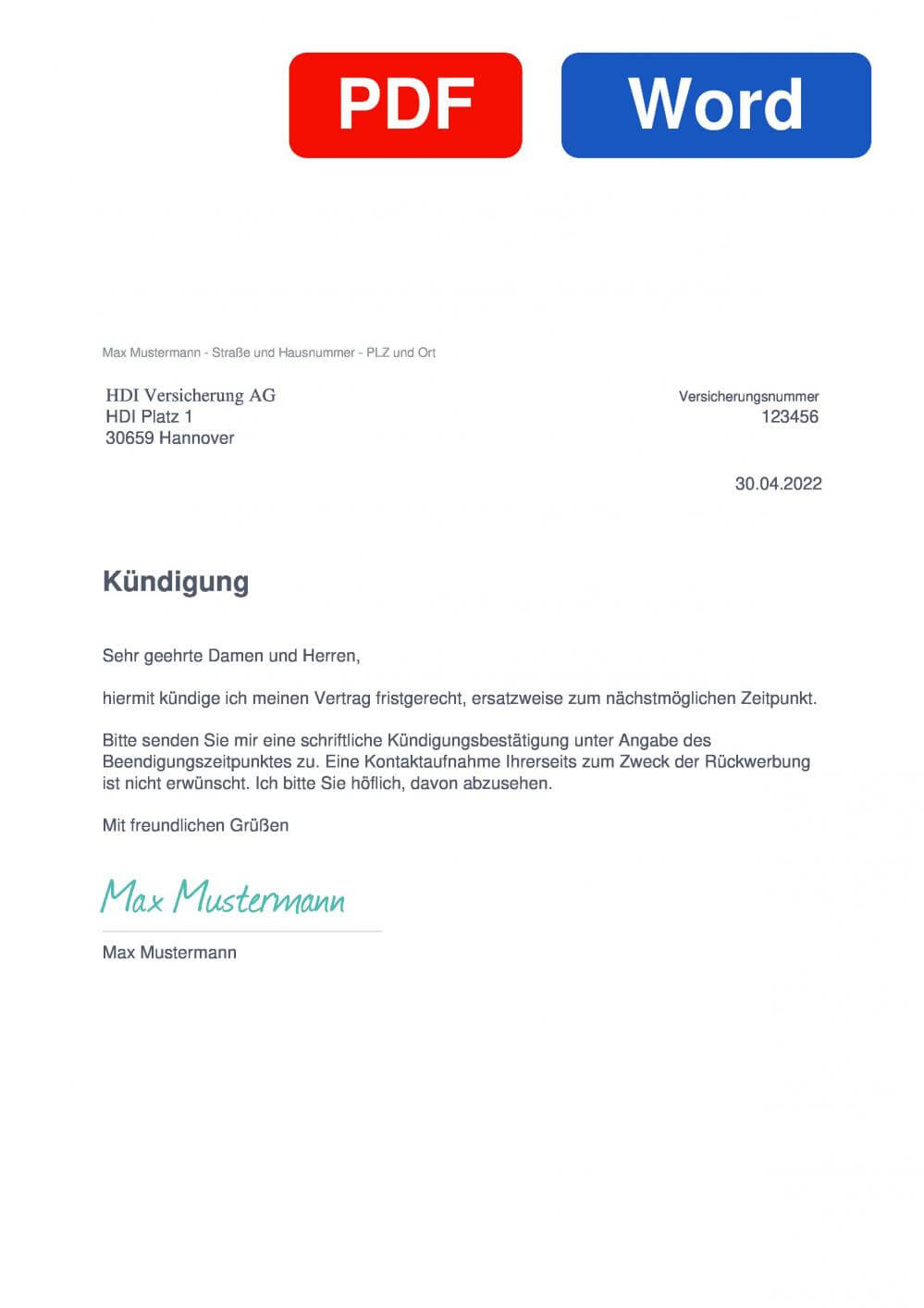 HDI Berufsunfähigkeitsversicherung Muster Vorlage für Kündigungsschreiben