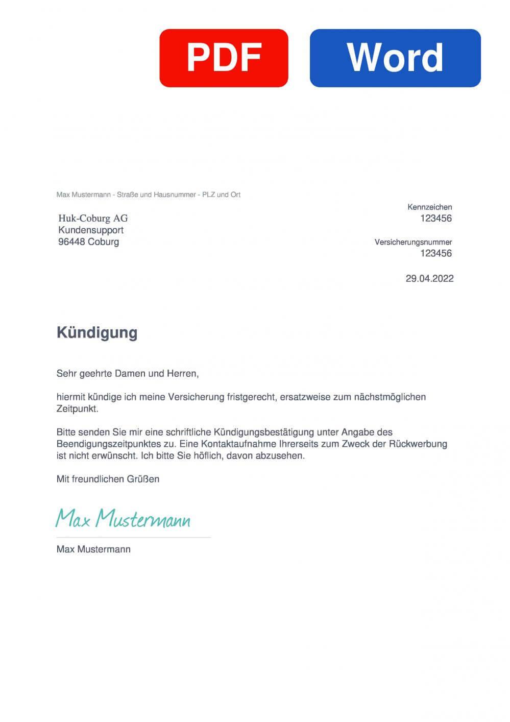 HUK-COBURG KFZ-Versicherung Muster Vorlage für Kündigungsschreiben
