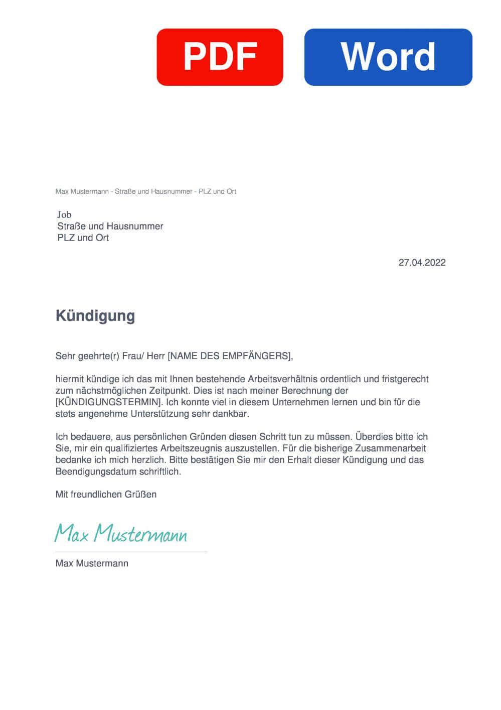 Job Muster Vorlage für Kündigungsschreiben