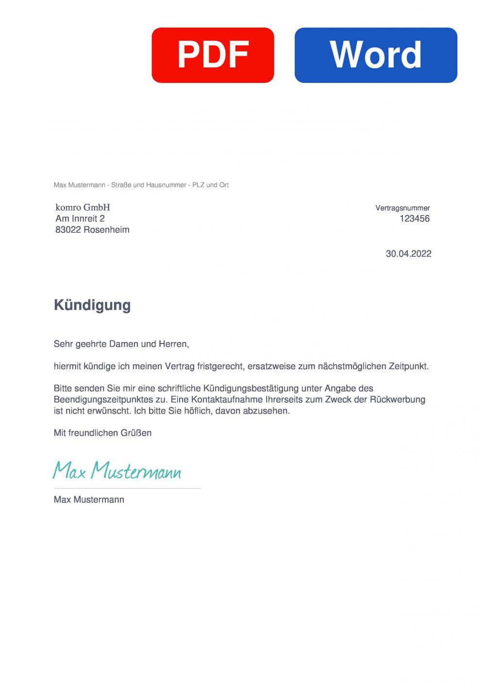 komro Muster Vorlage für Kündigungsschreiben