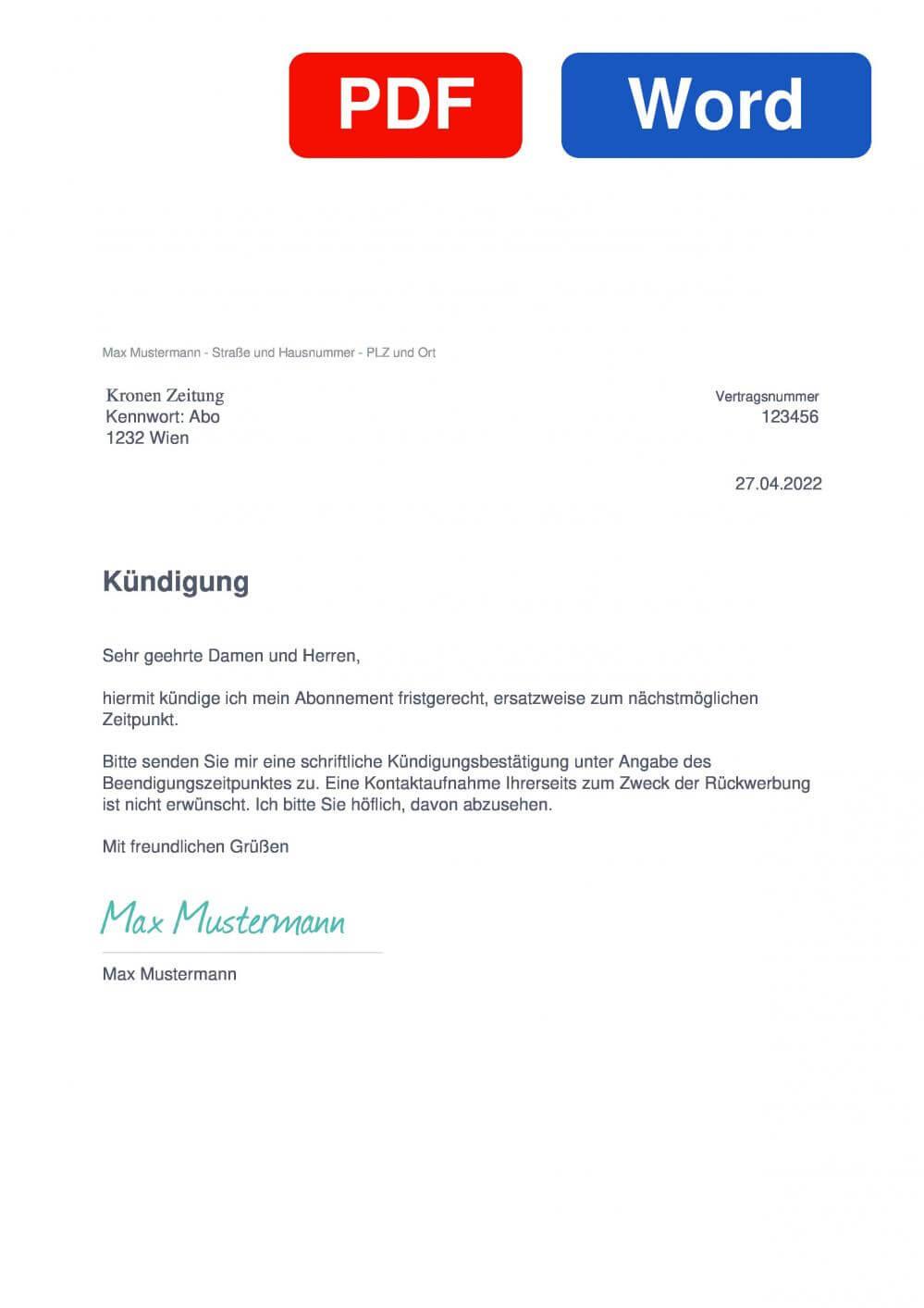 Kronen Zeitung Muster Vorlage für Kündigungsschreiben