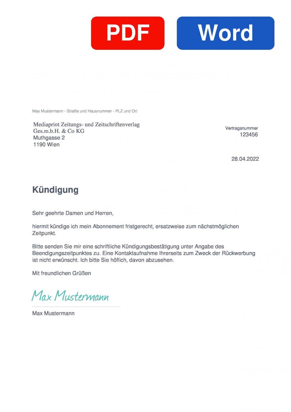 Kurier Muster Vorlage für Kündigungsschreiben