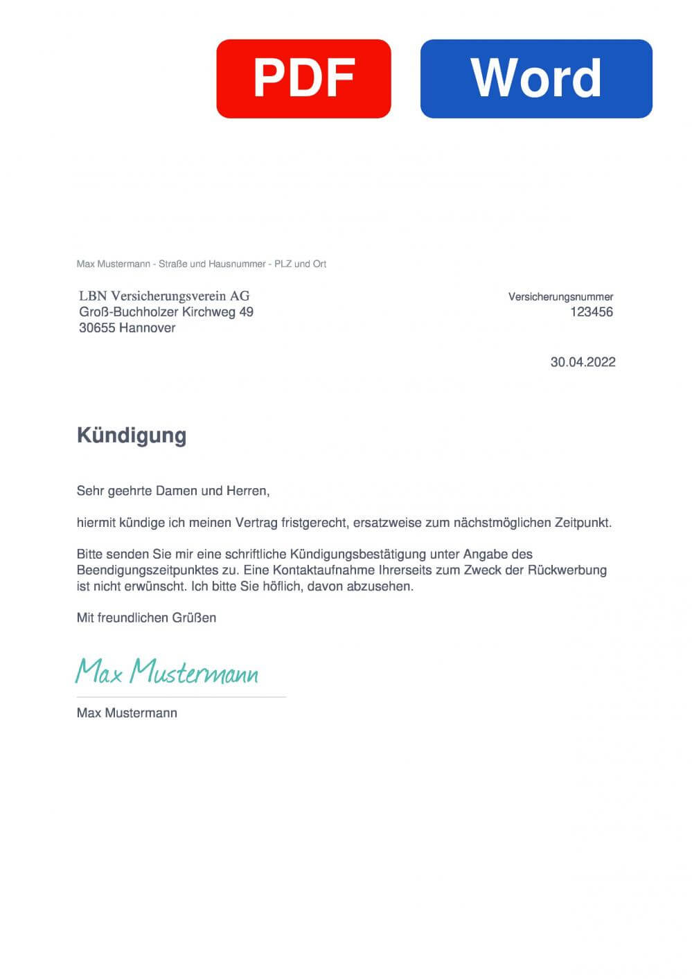 LBN Versicherung Muster Vorlage für Kündigungsschreiben