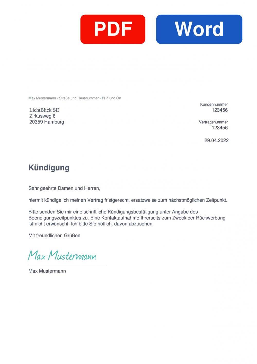 LichtBlick Muster Vorlage für Kündigungsschreiben