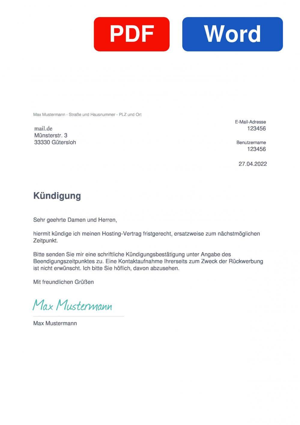 mail.de Muster Vorlage für Kündigungsschreiben