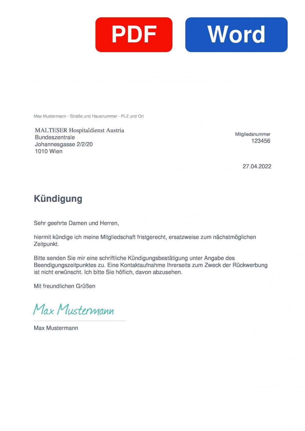Malteser Österreich Muster Vorlage für Kündigungsschreiben