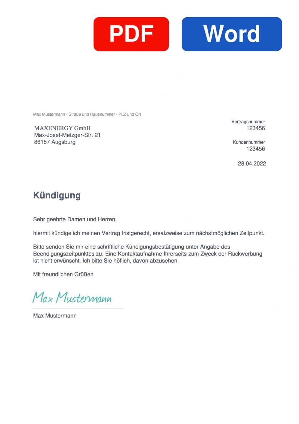 MAXENERGY Muster Vorlage für Kündigungsschreiben