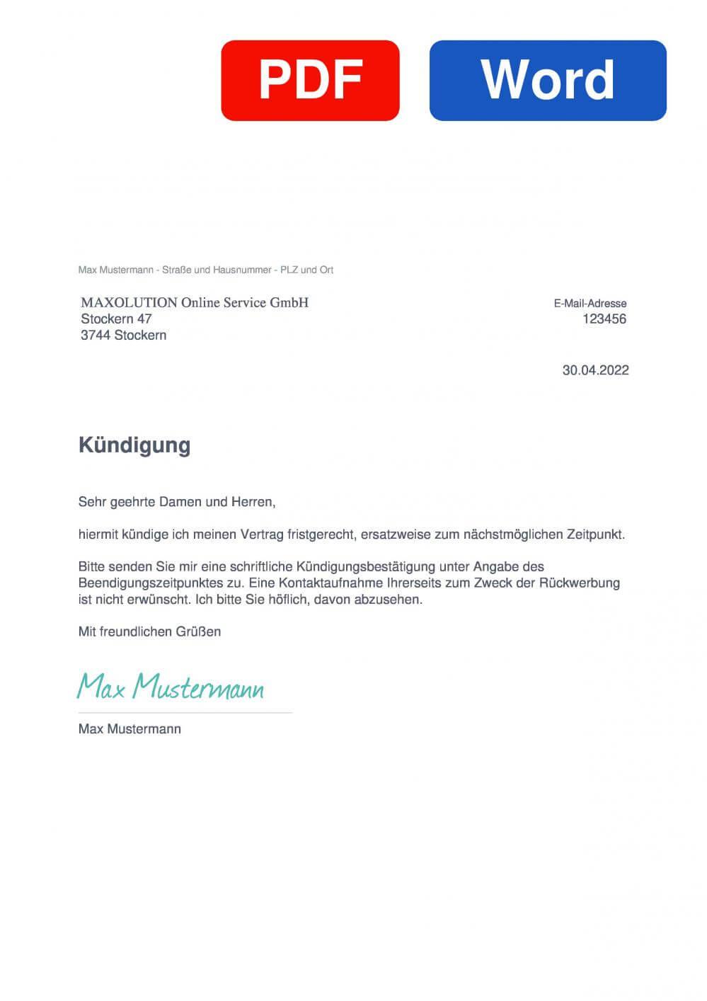 MAXOLUTION Muster Vorlage für Kündigungsschreiben