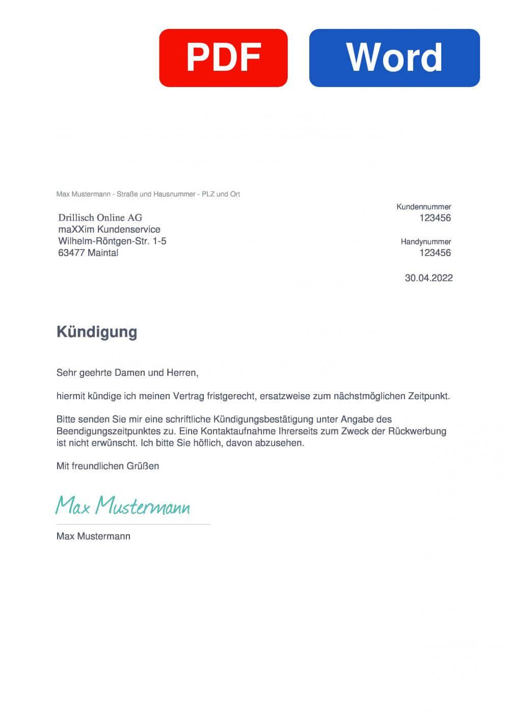 maxxim  Muster Vorlage für Kündigungsschreiben