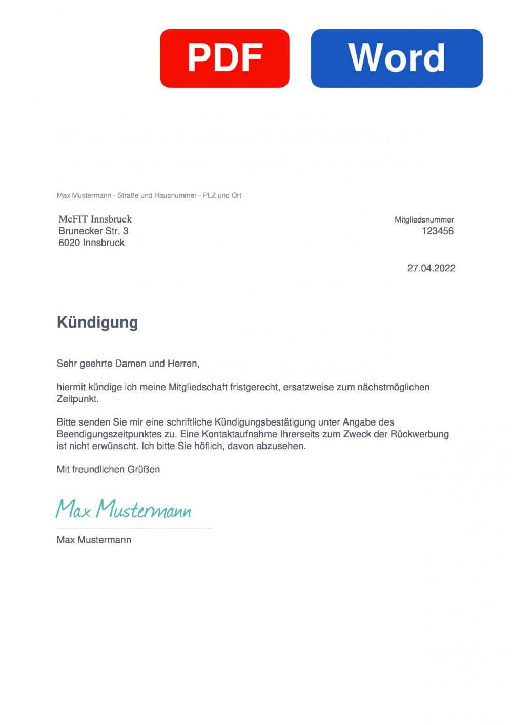 McFIT Innsbruck Muster Vorlage für Kündigungsschreiben