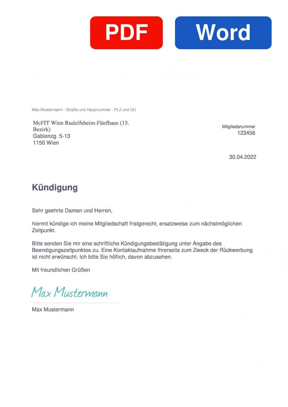 McFIT Wien Rudolfsheim-Fünfhaus Muster Vorlage für Kündigungsschreiben