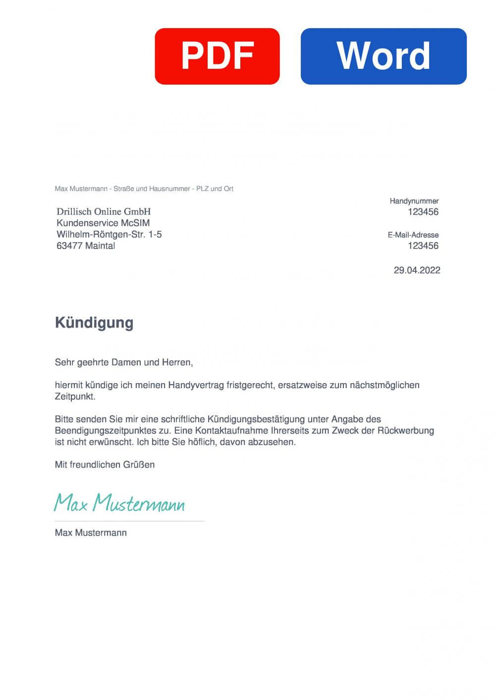 McSIM Muster Vorlage für Kündigungsschreiben
