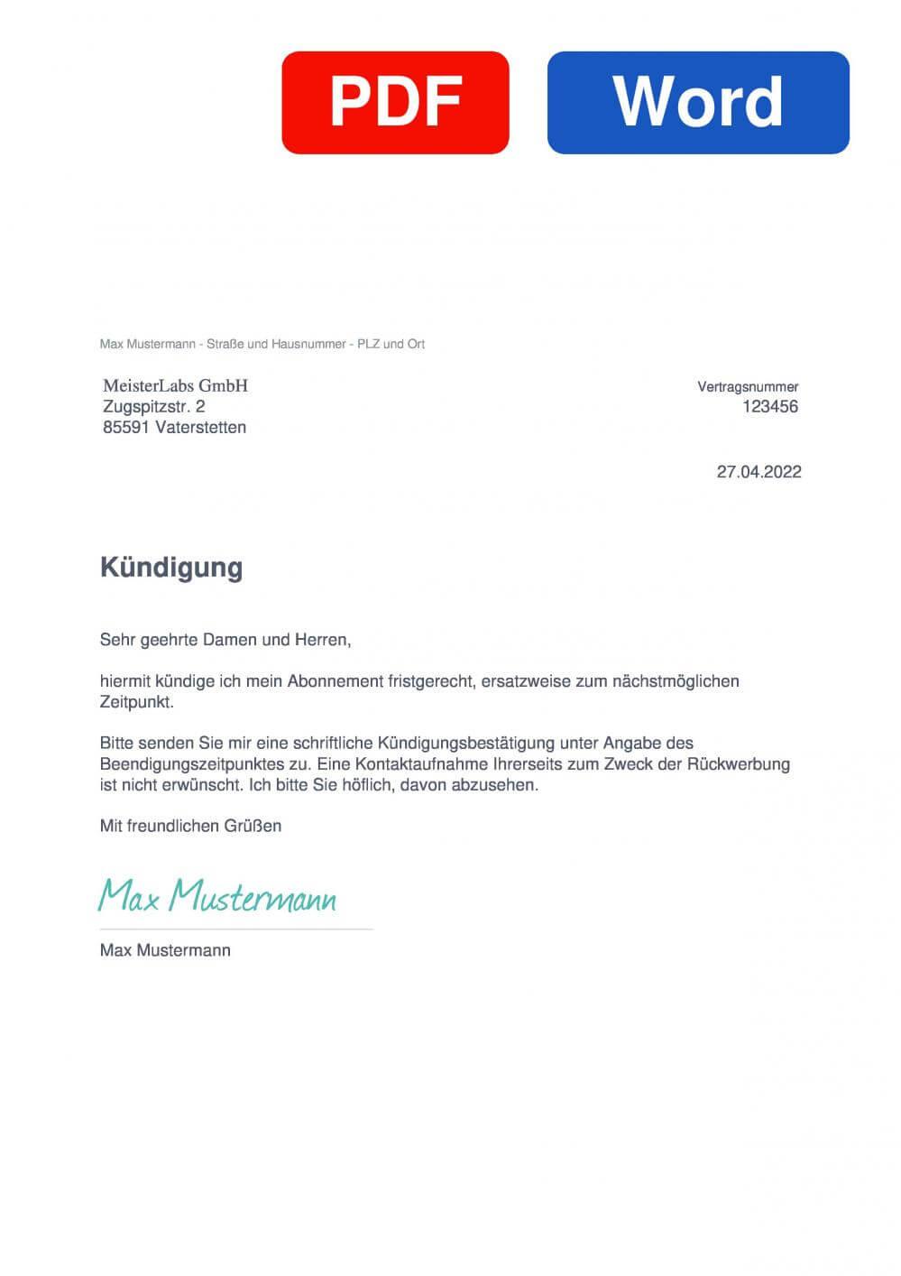 MeisterTask Muster Vorlage für Kündigungsschreiben