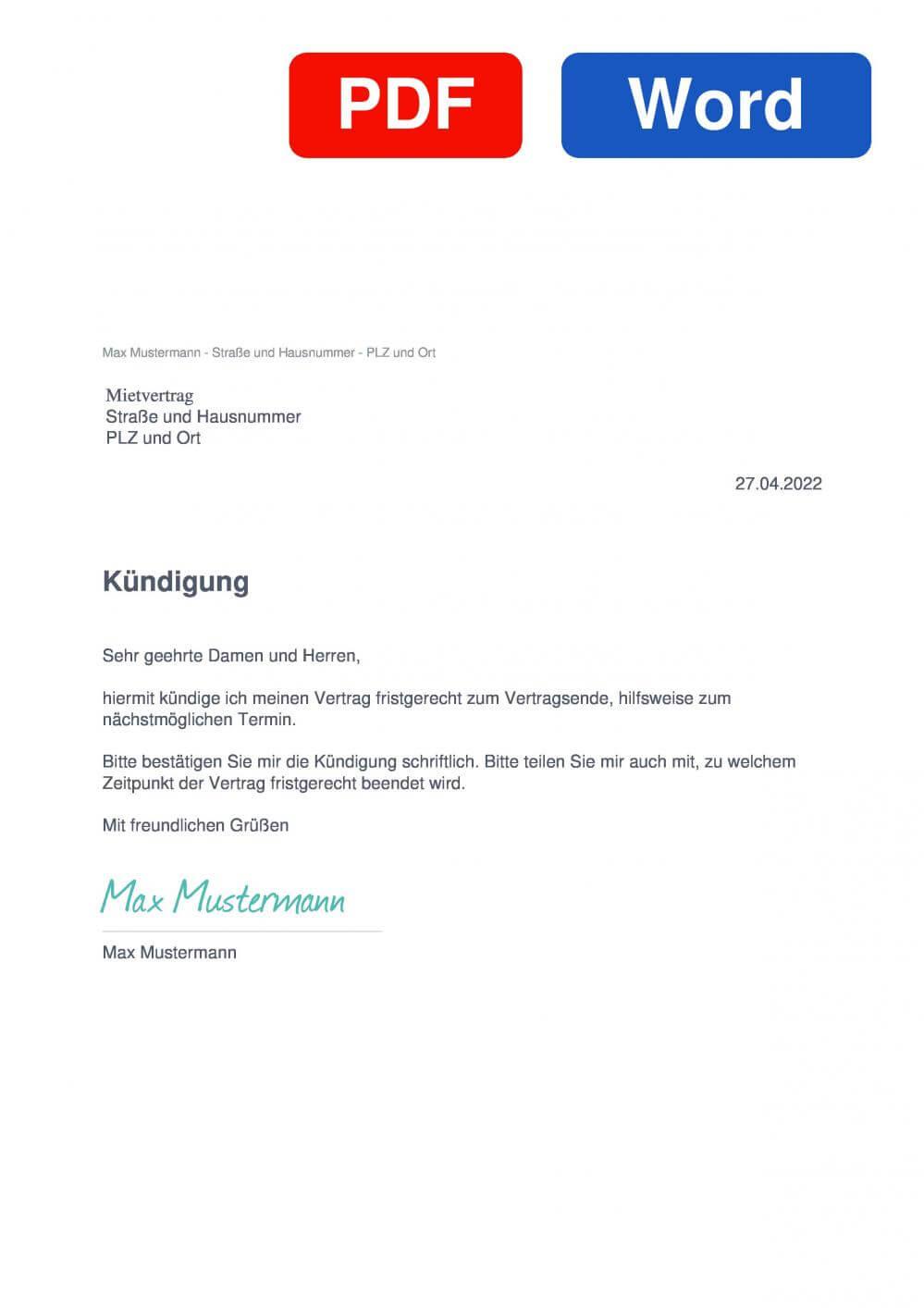 Mietvertrag Muster Vorlage für Kündigungsschreiben