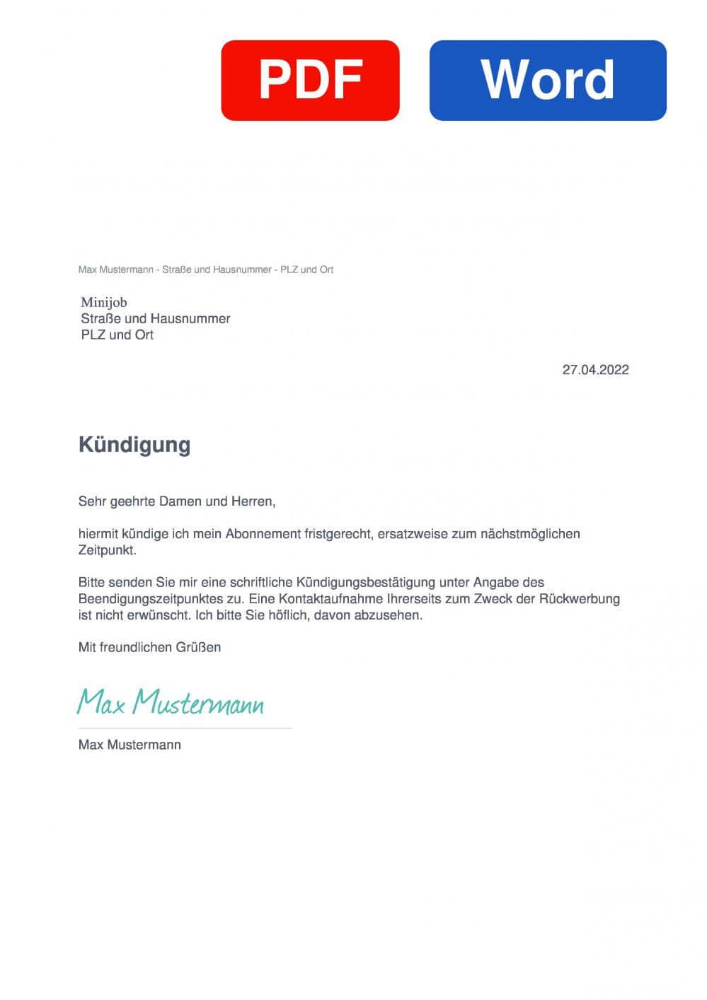 Minijob Muster Vorlage für Kündigungsschreiben