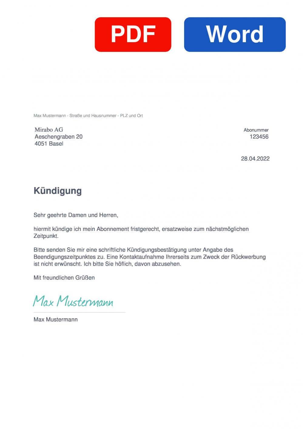 Mirabo AG Muster Vorlage für Kündigungsschreiben