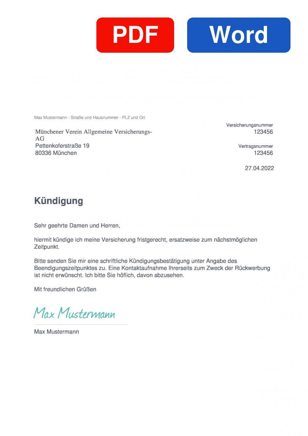 Münchener Verein Muster Vorlage für Kündigungsschreiben