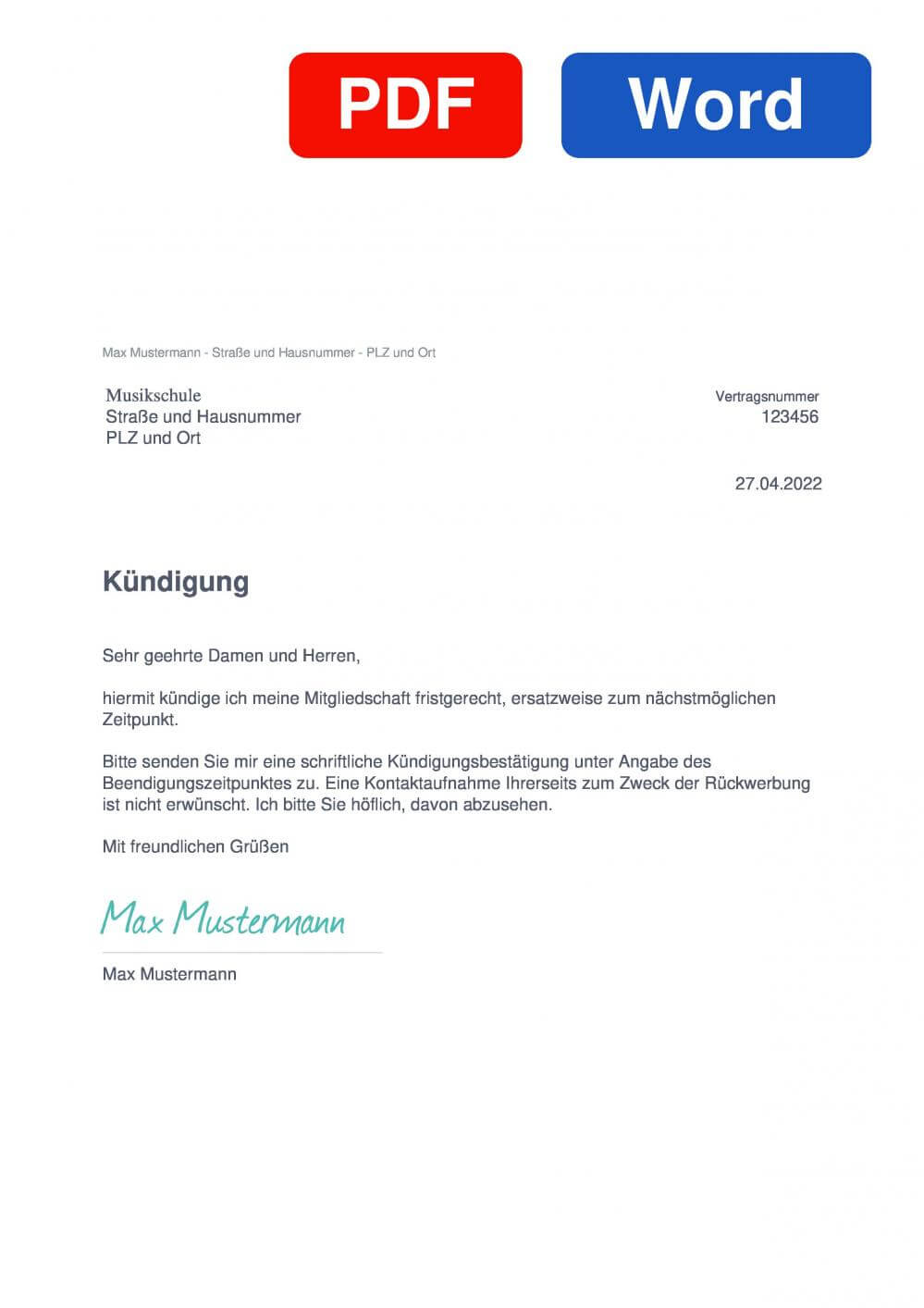 Musikschule Muster Vorlage für Kündigungsschreiben