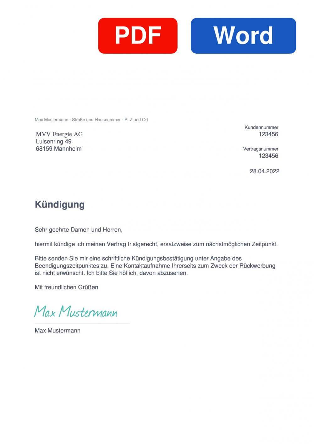 MVV Energie Muster Vorlage für Kündigungsschreiben