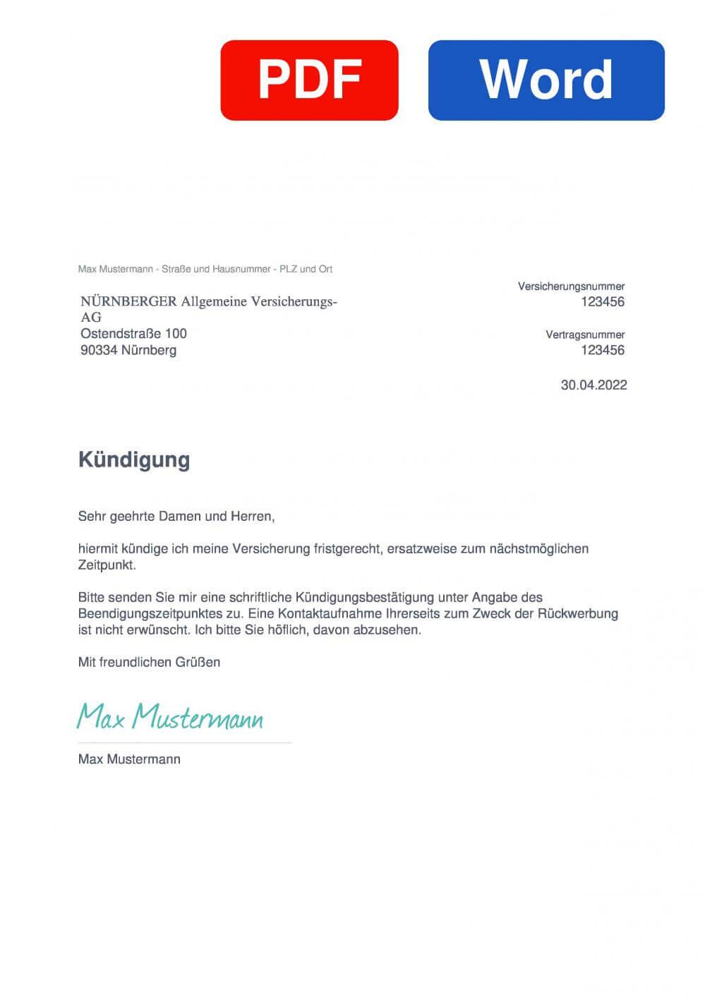 NÜRNBERGER Berufsunfähigkeitsversicherung Muster Vorlage für Kündigungsschreiben