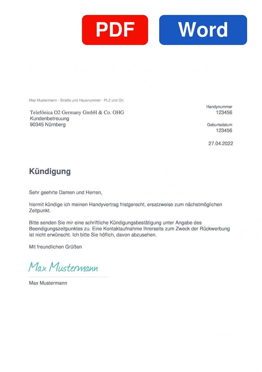 o2 Handyvertrag Muster Vorlage für Kündigungsschreiben