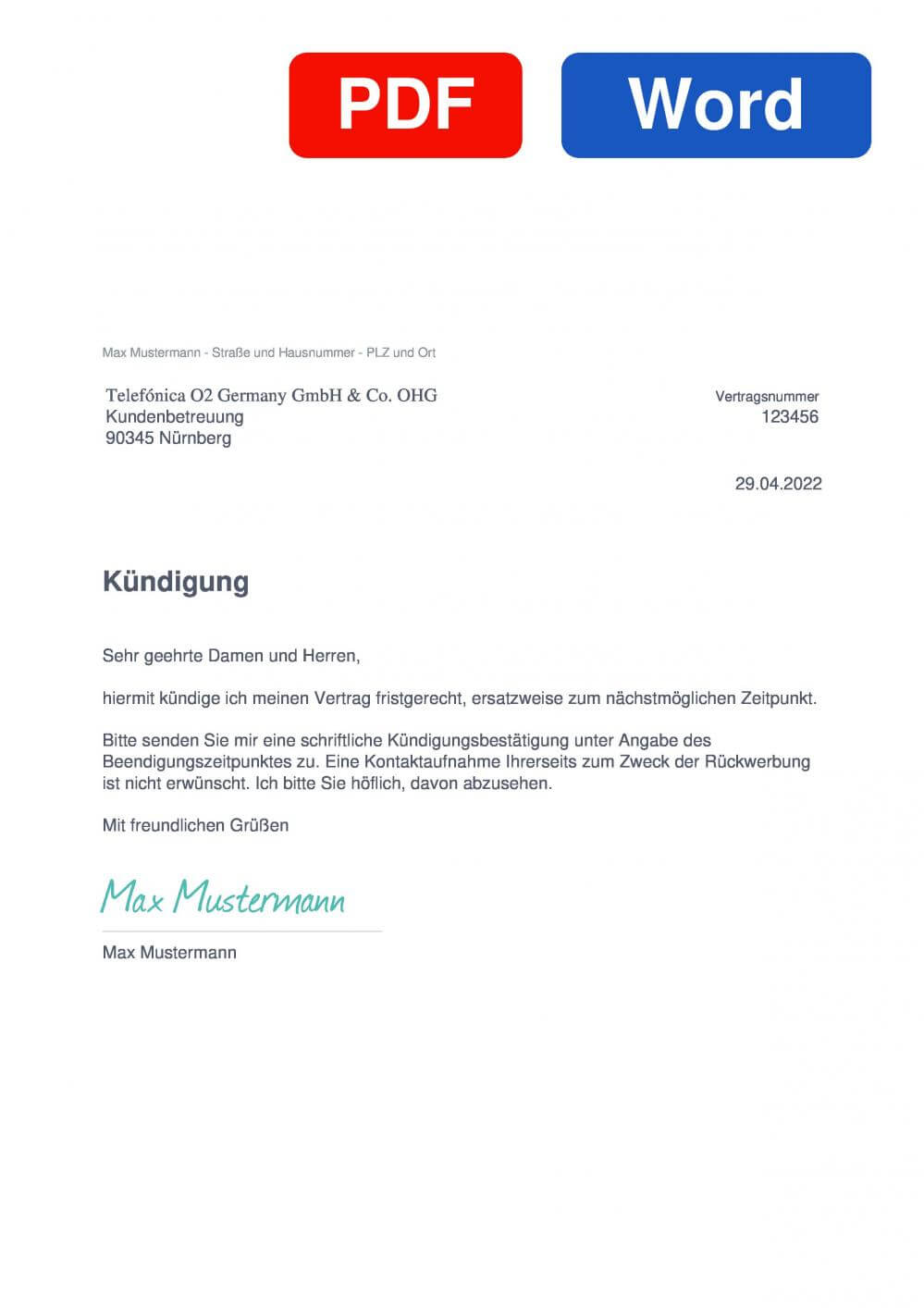 O2 Muster Vorlage für Kündigungsschreiben