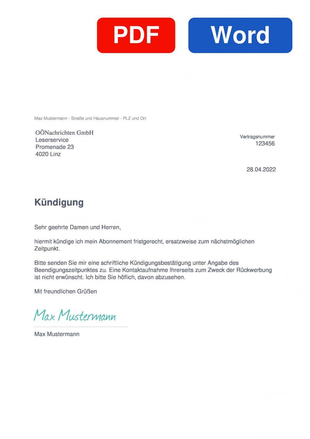 Oberösterreichische Nachrichten Muster Vorlage für Kündigungsschreiben