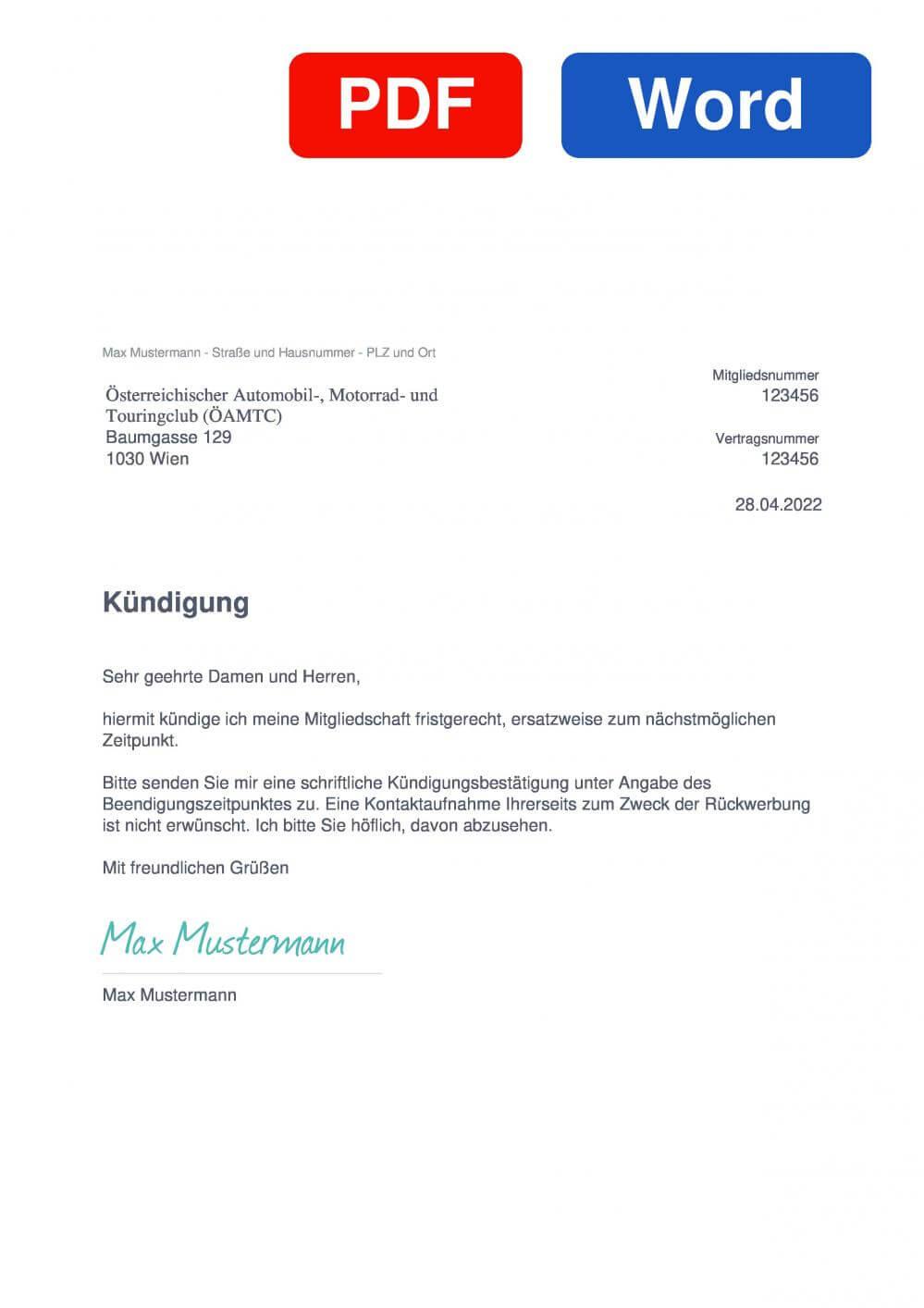 ÖAMTC Club Muster Vorlage für Kündigungsschreiben